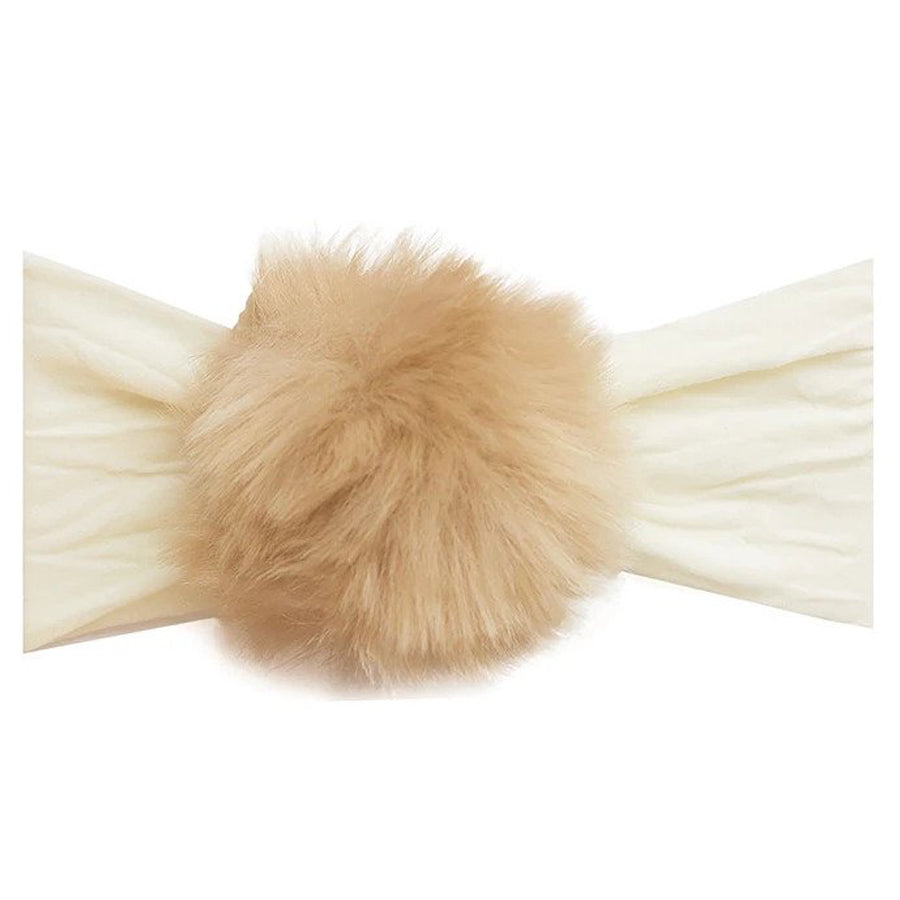 Rabbit Fur Pom Headband - Ivory/Camel-Baby Bling-Joanna's Cuties