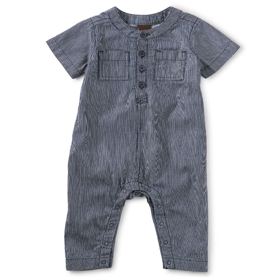 Railroad Stripe Henley Romper - Dark Wash Garment-Tea-Joanna's Cuties
