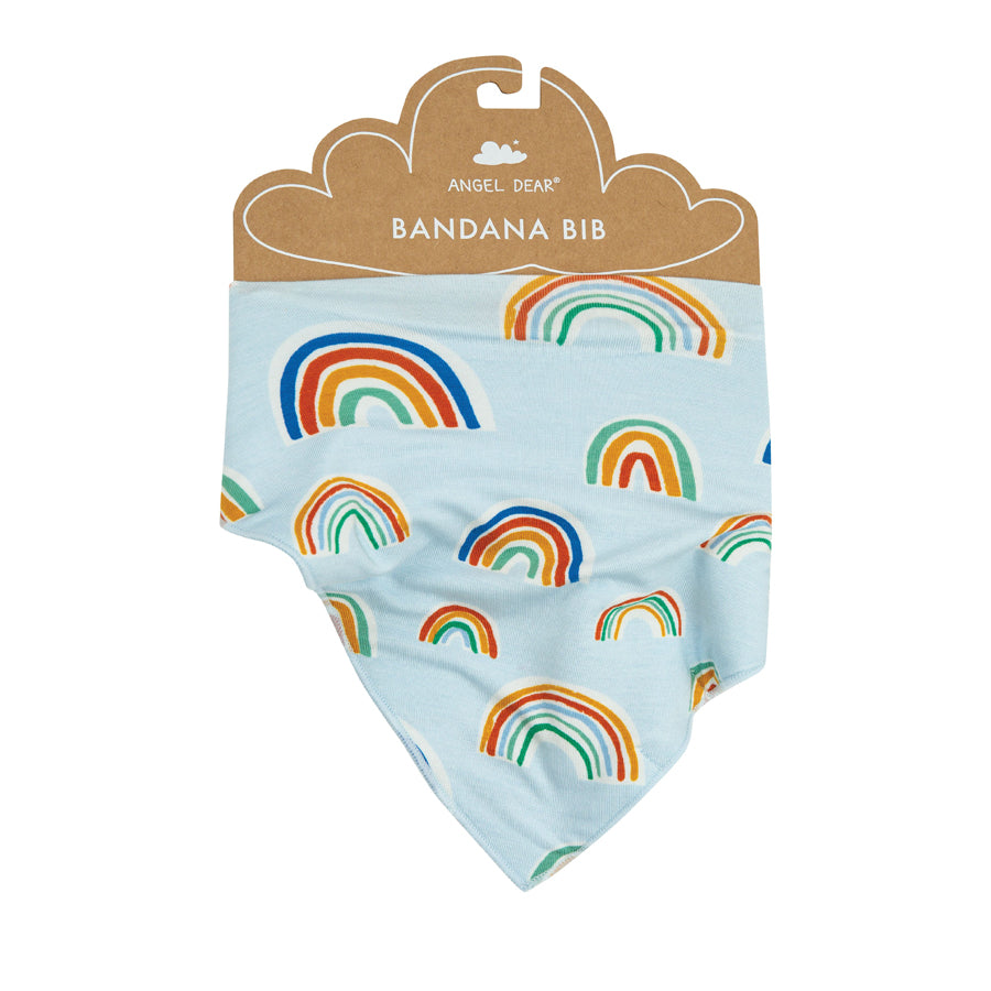 Rainbows Bandana Bib Blue Multi-Angel Dear-Joanna's Cuties