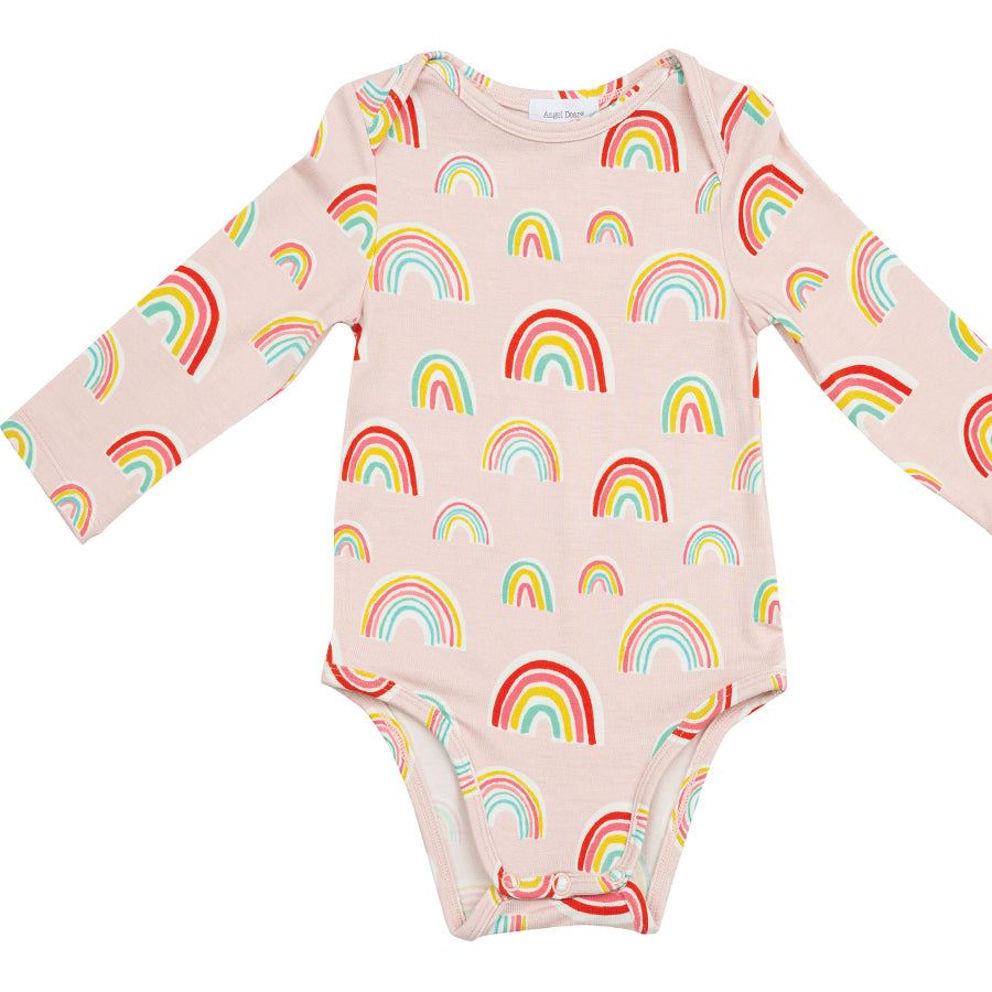 Rainbows Lap Shoulder Bodysuit - Pink-Angel Dear-Joanna's Cuties