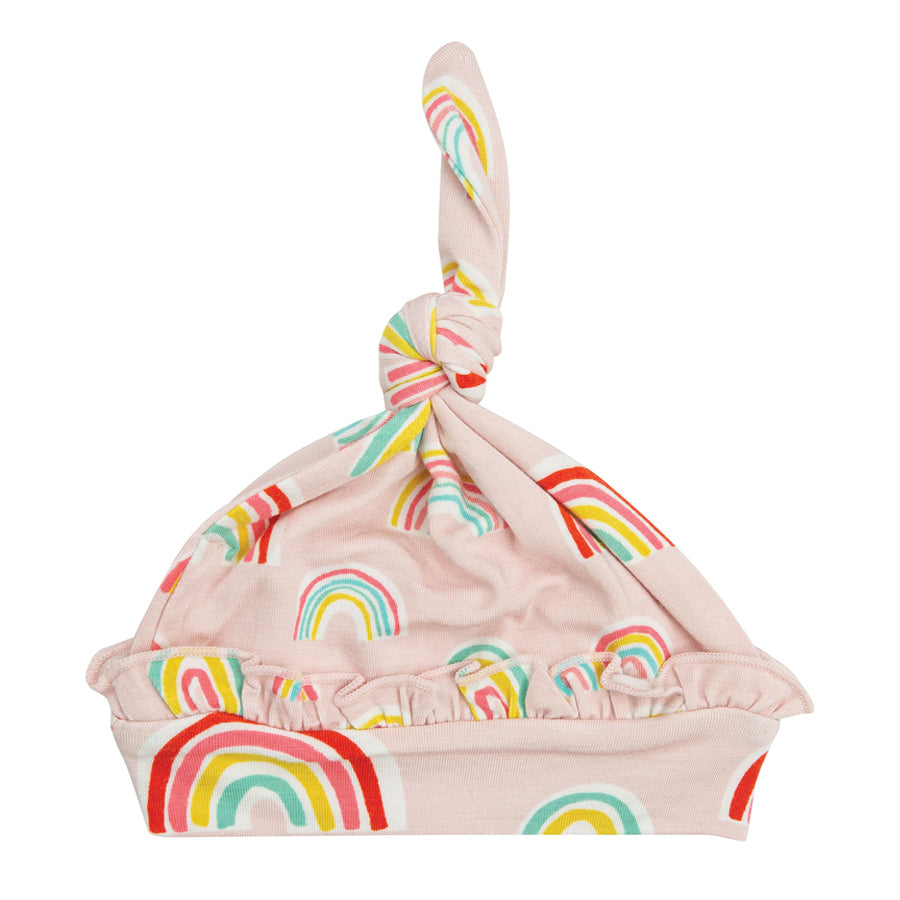 Ruffle Knotted Hat - Rainbows - Pink-Angel Dear-Joanna's Cuties