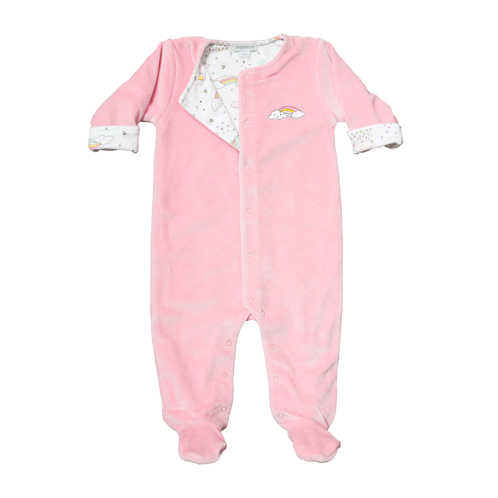 Rainbows Velour Reversible Footie - Noomie - joannas-cuties