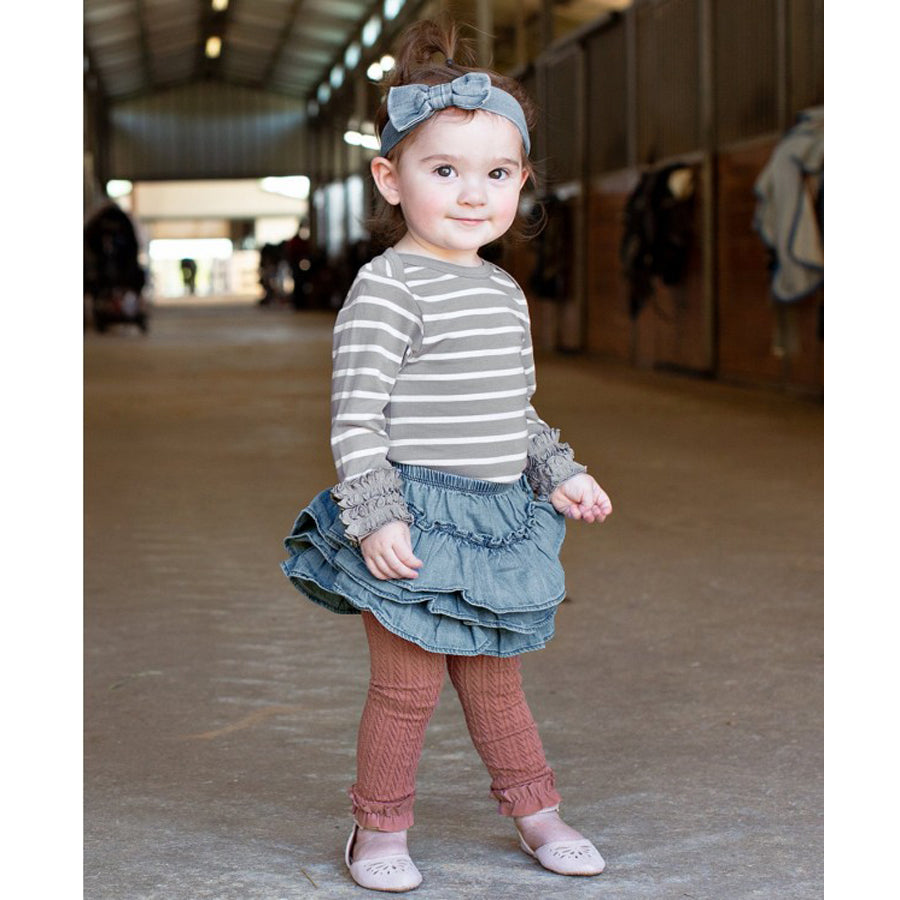 Light Wash Denim Skirted Bloomer - Ruffle Butts - joannas-cuties