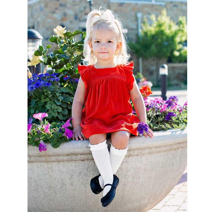Red Velvet Jumper Dress, Ruffle Butts - Joanna's Cuties