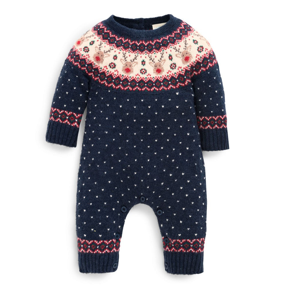 Reindeer Fair Isle Baby All-In-One - JoJo Maman Bebe - joannas-cuties