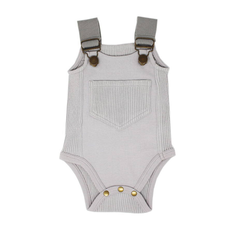 Ribbed Bodysuit in Light Gray