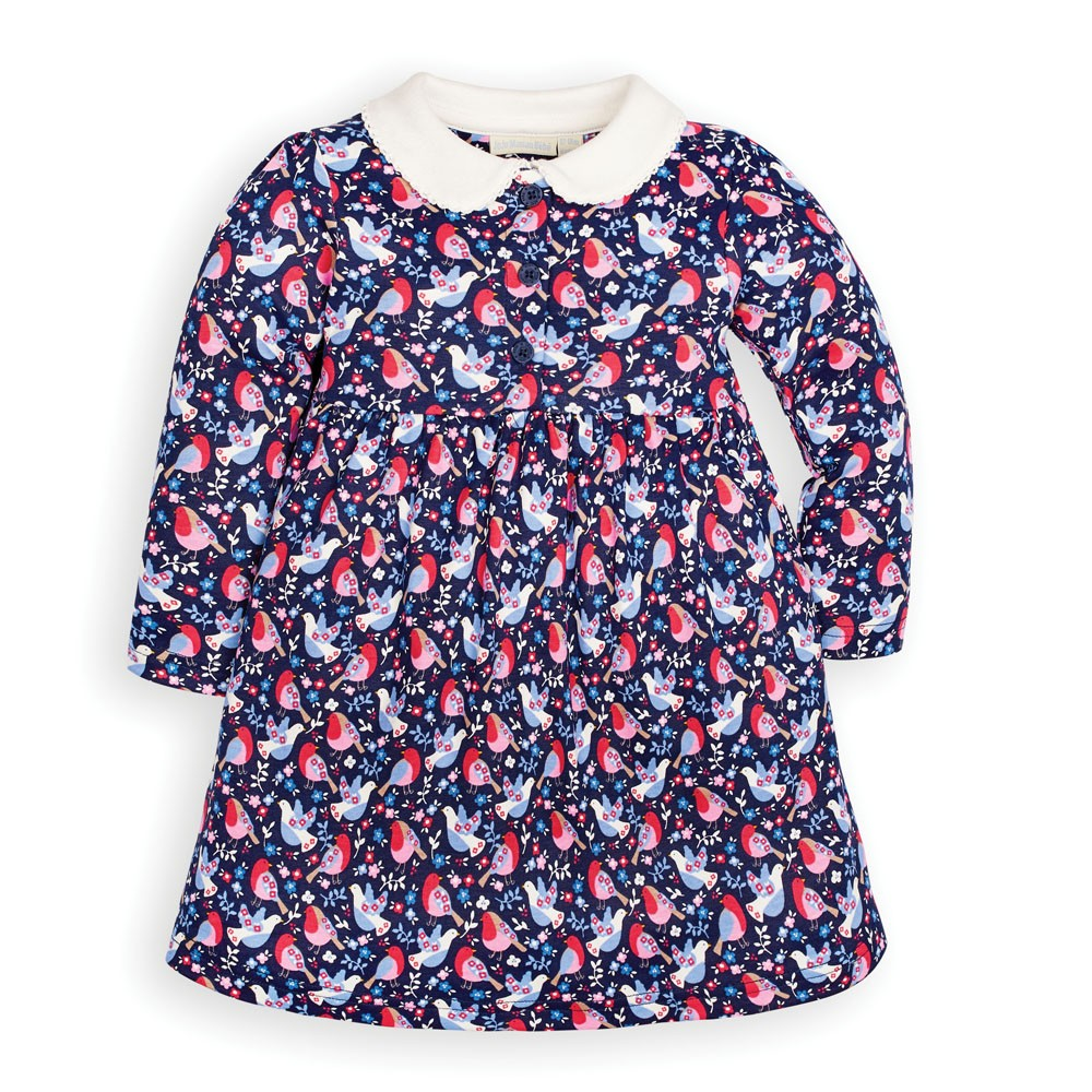 Robin Print Peter Pan Dress - JoJo Maman Bebe - joannas-cuties
