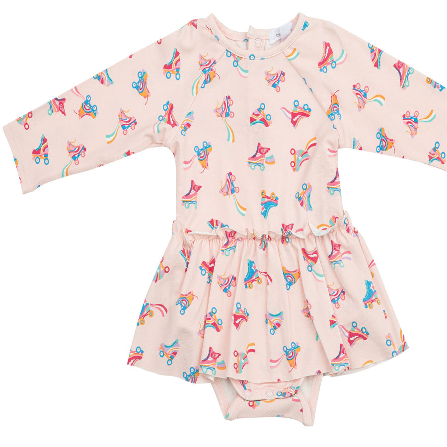 Roller Skates L/S Skirted Bodysuit-Angel Dear-Joanna's Cuties