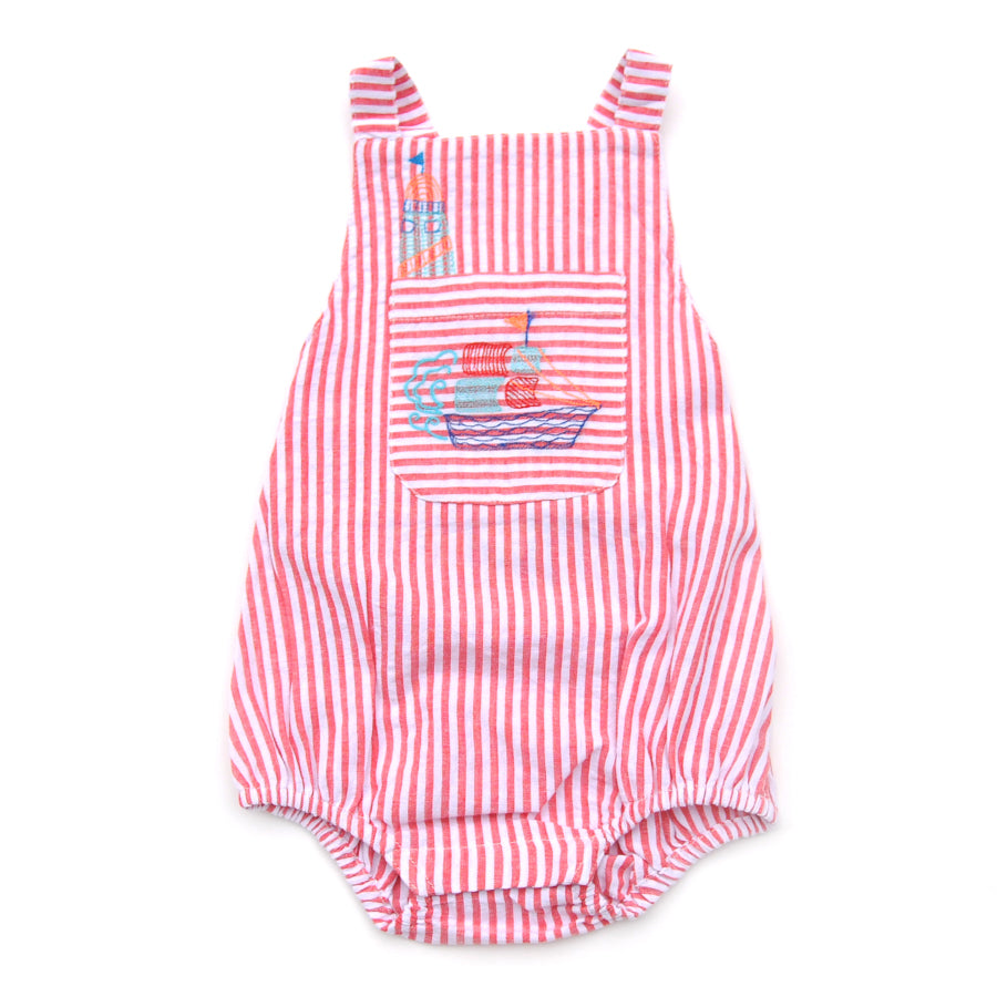 Romper Ross - Red Stripes-Almirah-Joanna's Cuties