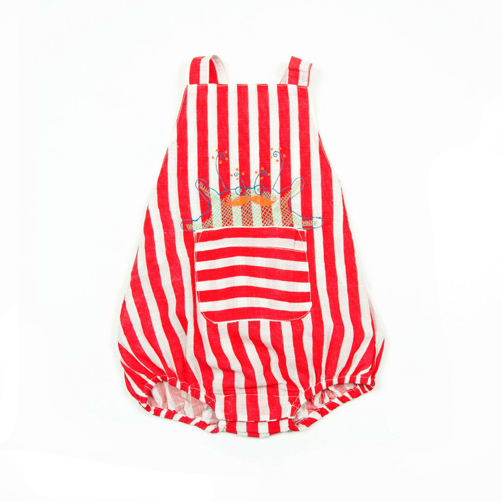 Romper Tod Red Stripe (crab  embroidery), Almirah - Joanna's Cuties