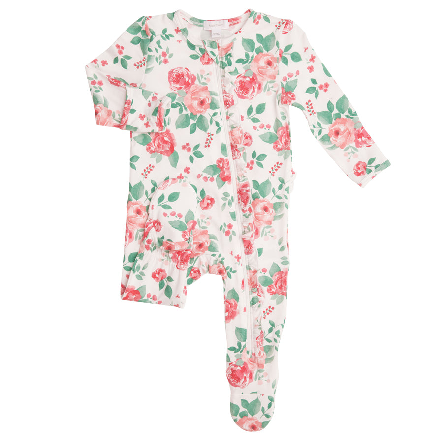 Rose Garden Ruffle Front Zipper Footie
