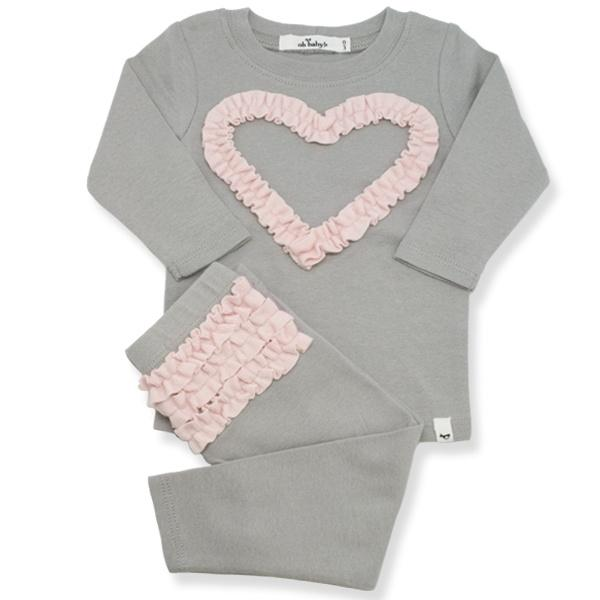 Ruffle Heart Two Piece Set w/ Brushed Pale Pink - Oh Baby - joannas-cuties
