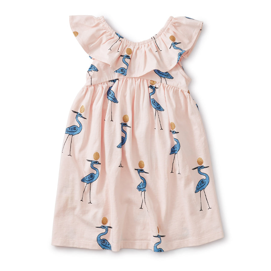 Ruffle Neck Dress - Sparkle Ibis-Tea-Joanna's Cuties