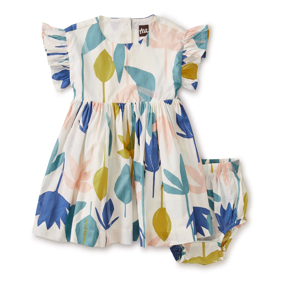 Ruffle Sleeve Baby Dress - Egyptian Floral-Tea-Joanna's Cuties