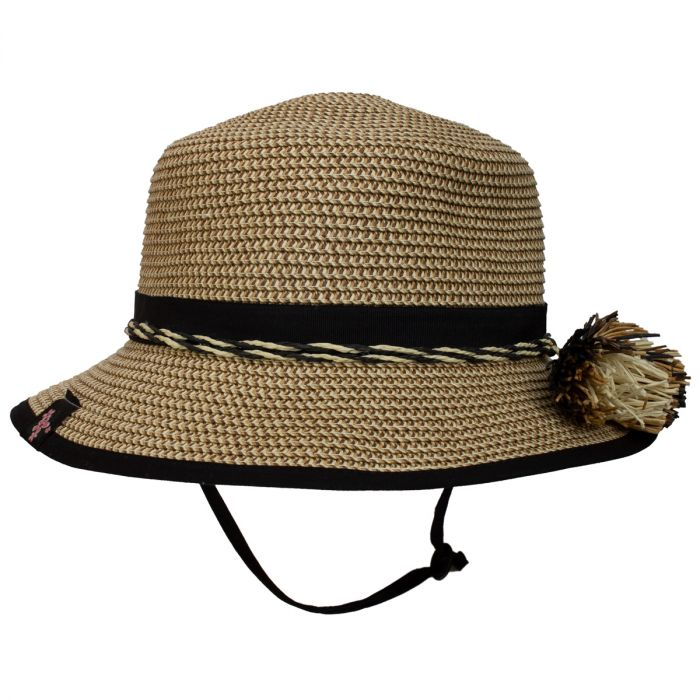 Girls Beach Hat - Mom & Me Tan Combo -Black -Adult Size - Calikids - joannas-cuties
