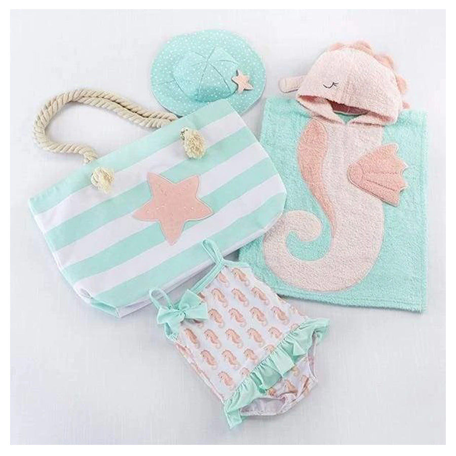 Seahorse 4-Piece Beach Gift Set with Canvas Tote for Mom-Baby Aspen-Joanna's Cuties