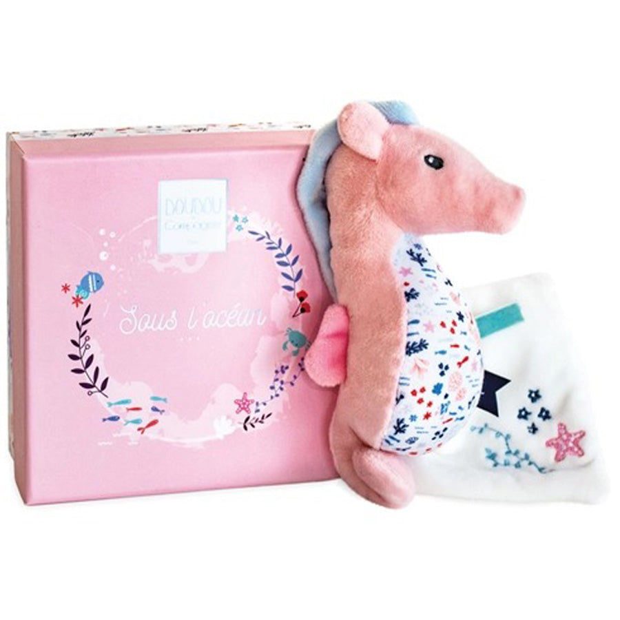 Under the Sea: Seahorse Plush With Blanket, Pink-Doudou Et Compagnie-Joanna's Cuties