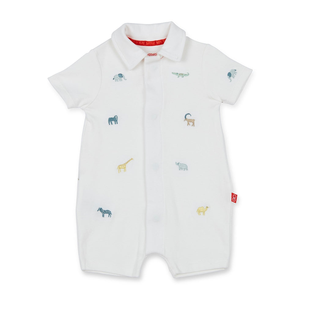 Serengeti Cotton Magnetic Polo Romper, Magnetic Me - Joanna's Cuties