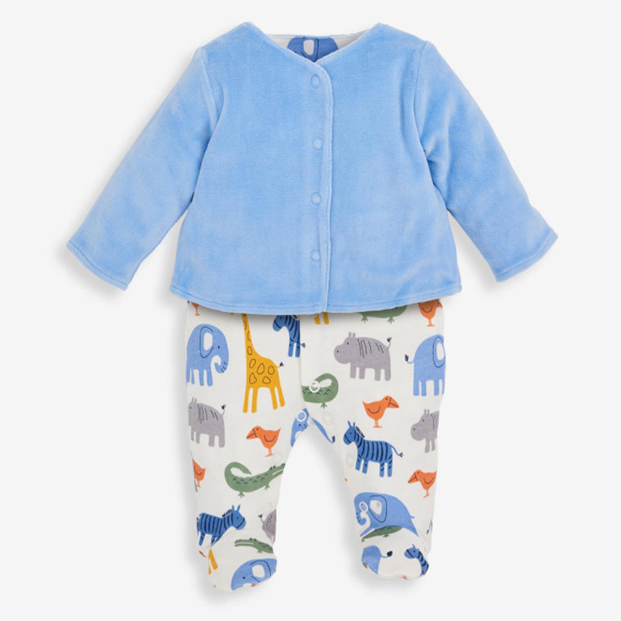 2 Pc Safari Baby Jacket & Sleepsuit Set