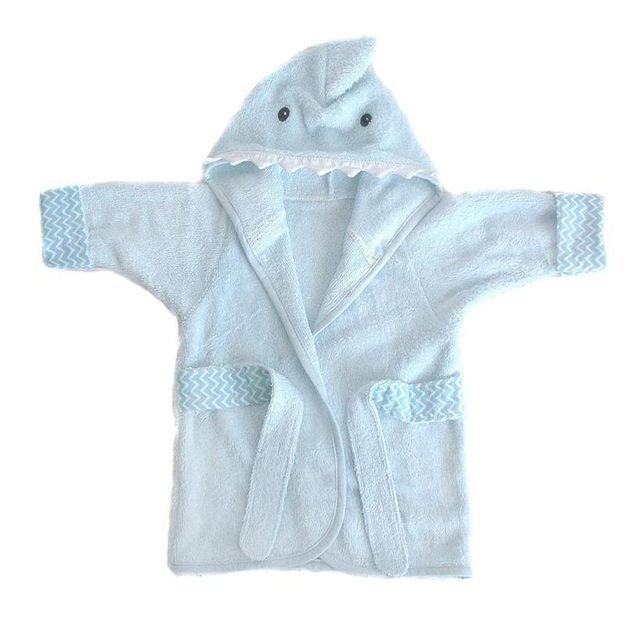 Shark Bamboo Terry Blue Baby Robe-Mon Ami-Joanna's Cuties