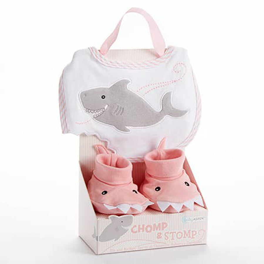 Shark Bib and Booties Gift Set - Pink-Baby Aspen-Joanna's Cuties