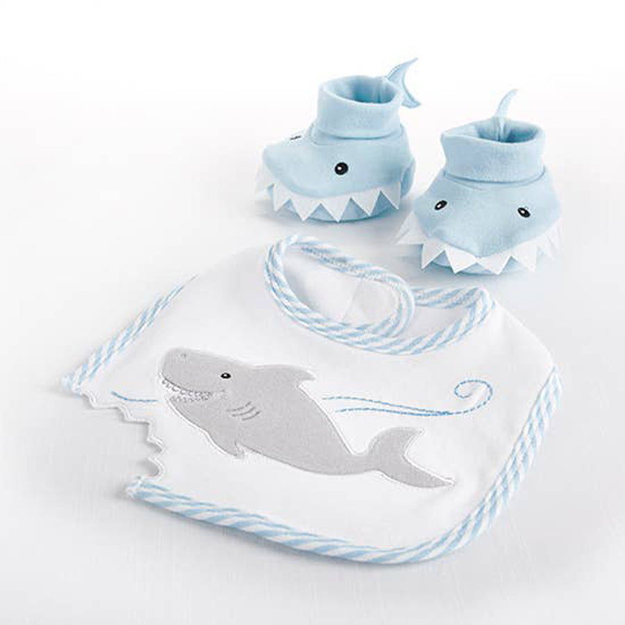 Shark Bib and Booties Gift Set - Blue-Baby Aspen-Joanna's Cuties
