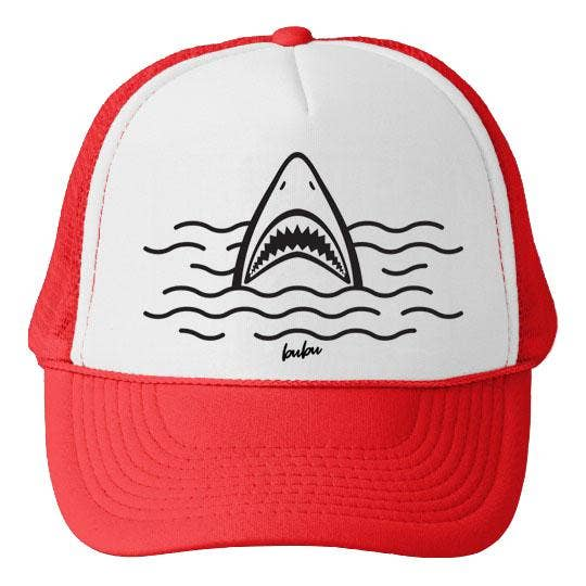Shark White/Red Trucker Hat-Bubu-Joanna's Cuties