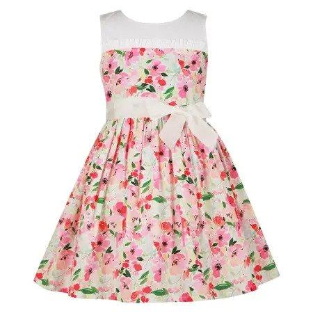 Sienna Floral Dress With White Fine Cotton Bodice, Bambiola - Joanna's Cuties