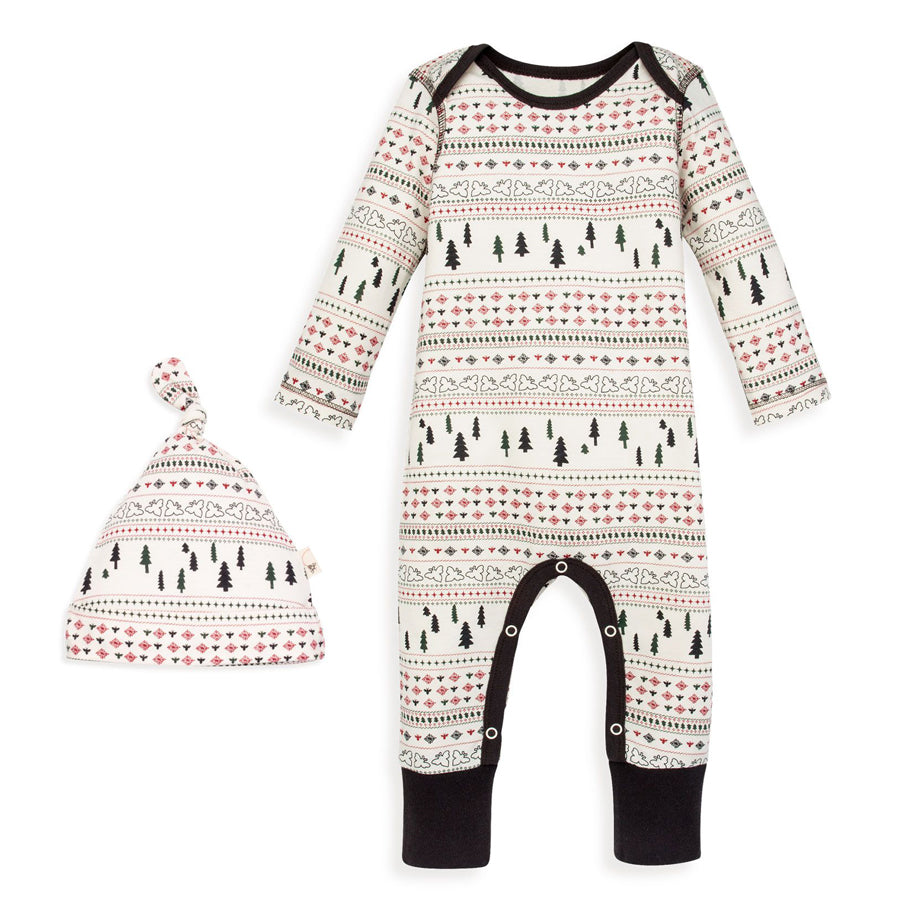 Sleigh Ride Fair Isle Organic Jumpsuit & Knot Top Hat Set-Burt's Bees Baby-Joanna's Cuties
