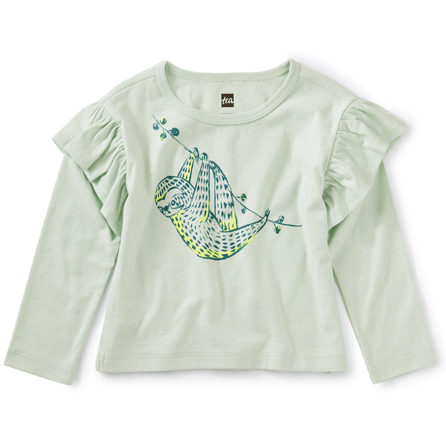 Sloth Ruffle Graphic Tee - Mint Chip-Tea-Joanna's Cuties