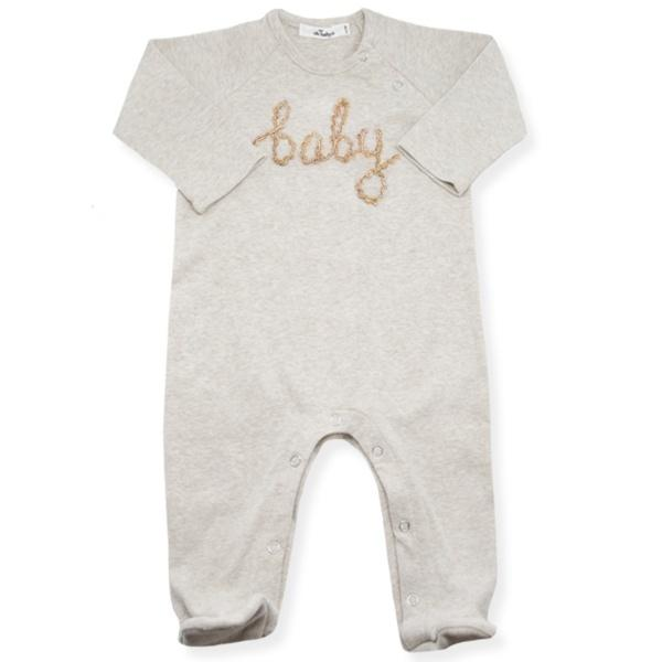 "Snap Neck Onesie Footie ""baby"" Blush Multi - Oh Baby - joannas-cuties"