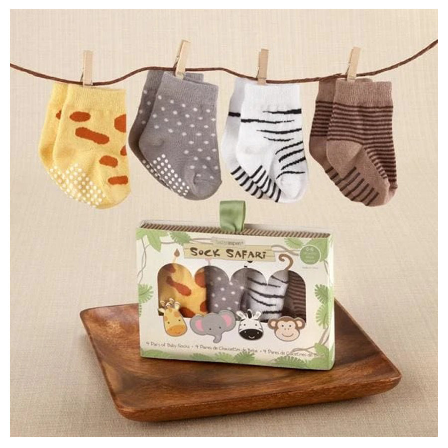 Sock Safari Four-Pair Animal-Themed Sock Set-Baby Aspen-Joanna's Cuties