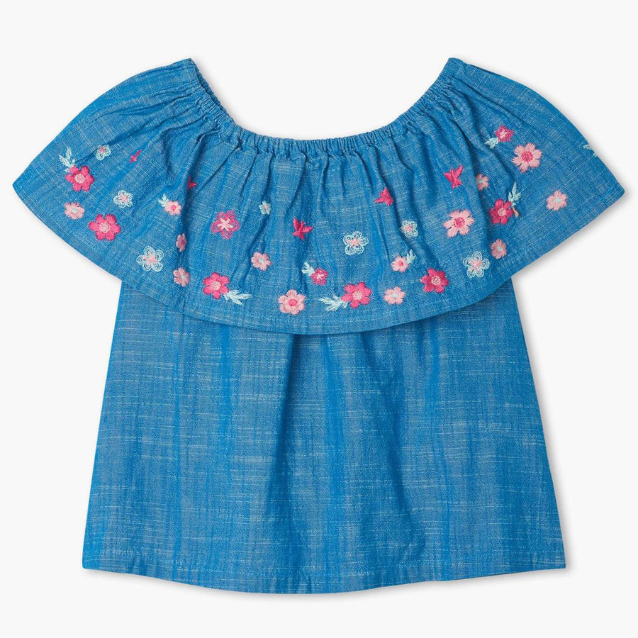 Spring Flowers Shoulder Flounce Top-Hatley-Joanna's Cuties