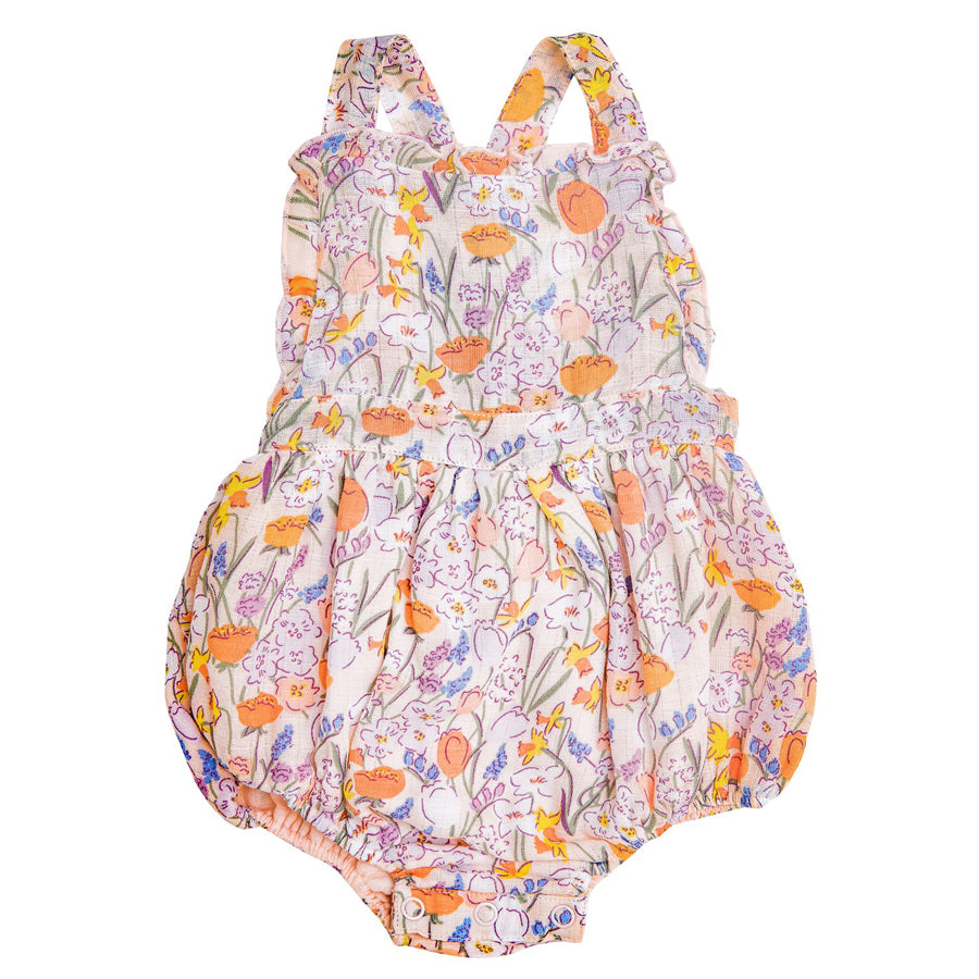 Springtime Floral Ruffle Bib Bubble-Angel Dear-Joanna's Cuties