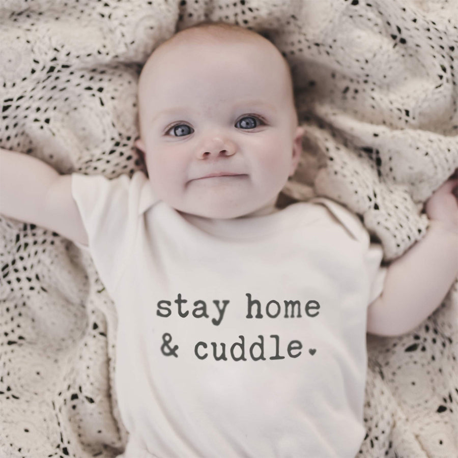 Graphic Bodysuit - Stay Home And Cuddle-Finn + Emma-Joanna's Cuties