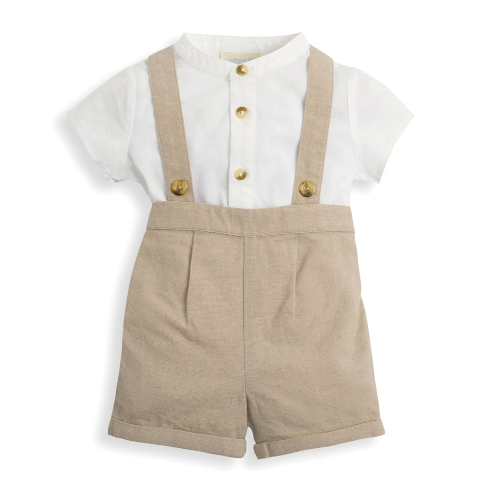 Stone Grandad Shirt Baby Shorts Set with Braces-JoJo Maman Bebe-Joanna's Cuties