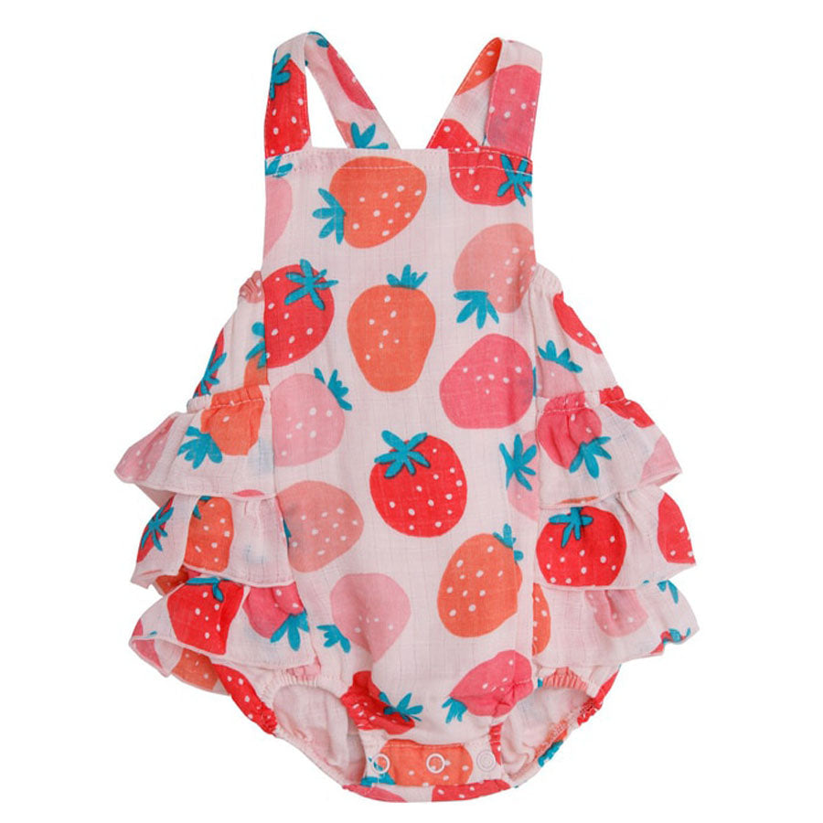Strawberries Ruffle Sunsuit-Angel Dear-Joanna's Cuties