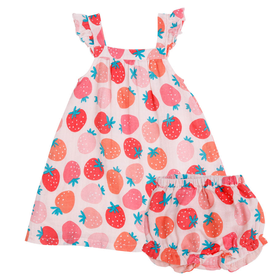 Strawberries Sundress With Diaper Cover-Angel Dear-Joanna's Cuties