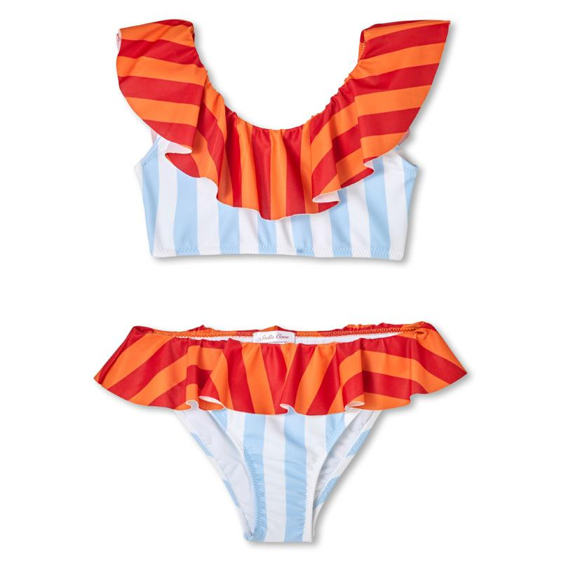 Striped Bikini Swimsuit - Light Blue & Orange - Stella Cove - joannas-cuties