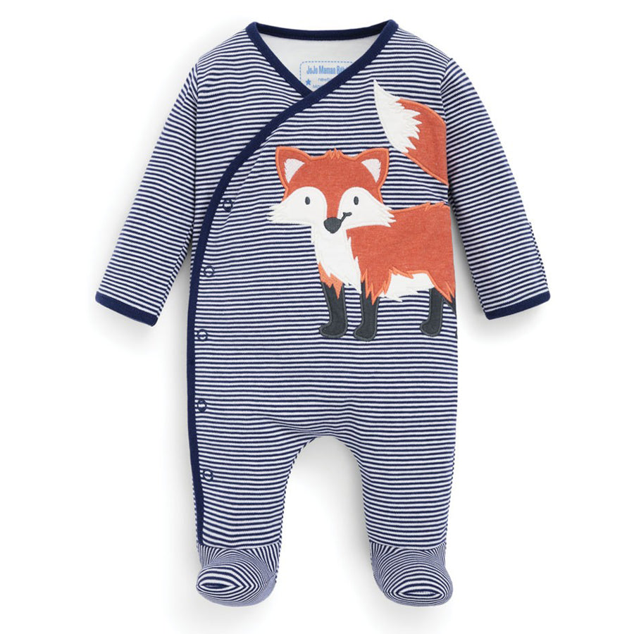 Striped Fox Appliqué Baby Footie - JoJo Maman Bebe - joannas-cuties