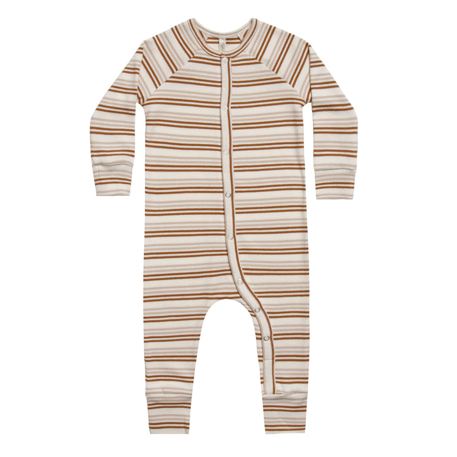 Long John Pajamas - Cinnamon Stripe
