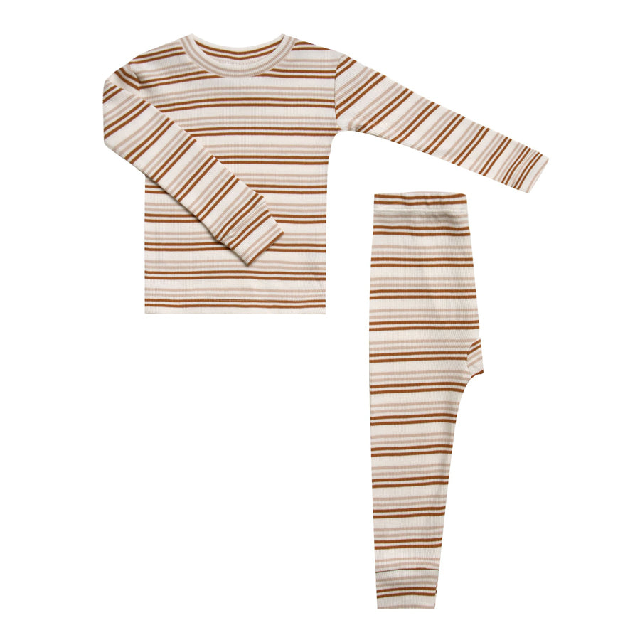 Long sleeve Pajamas Set - Cinnamon Stripe-Rylee + Cru-Joanna's Cuties