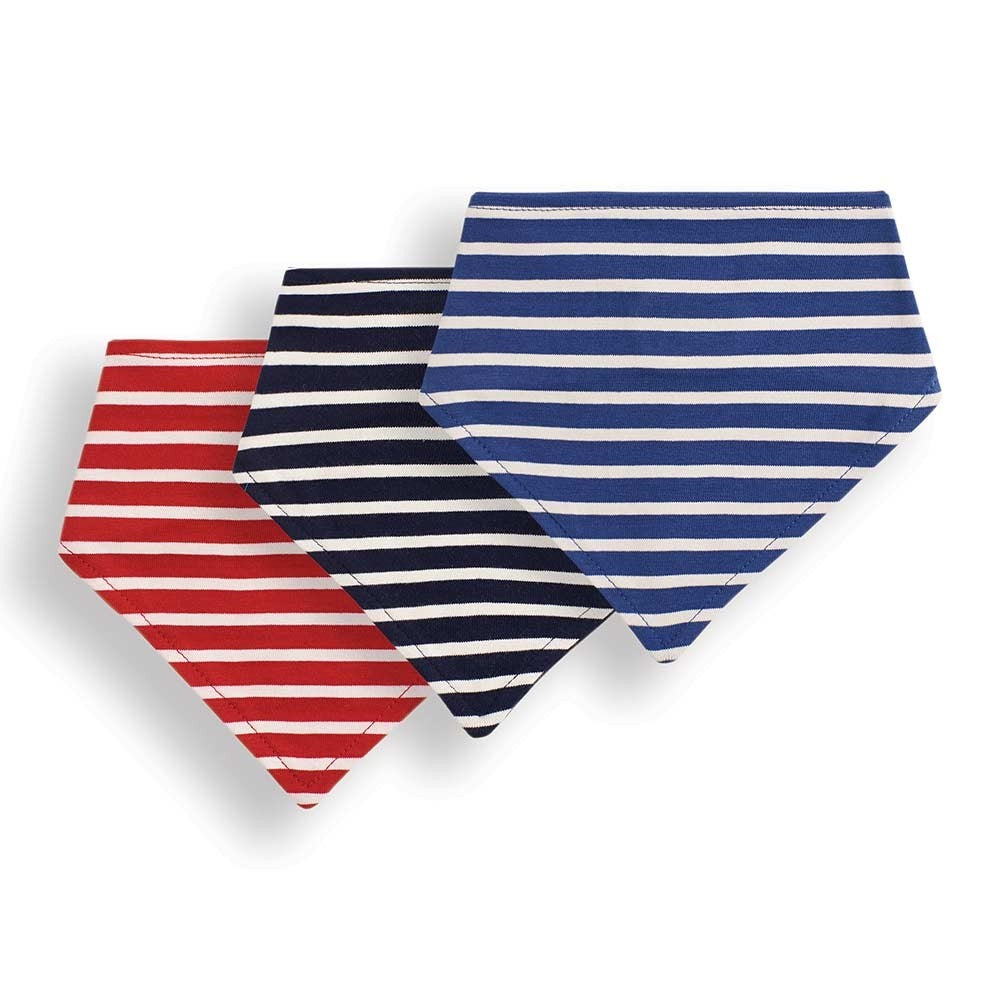 3-Pack Striped Reversible Bandana Bibs-JoJo Maman Bebe-Joanna's Cuties