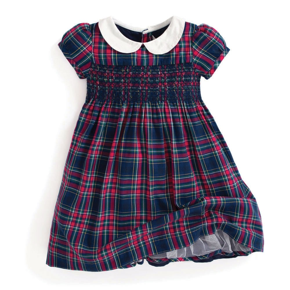 Tartan Plaid Smocked Party Dress - JoJo Maman Bebe - joannas-cuties