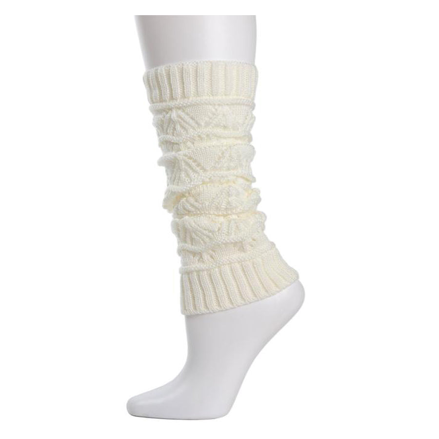 Triangle Scallop Girls Legwarmers - Ivory