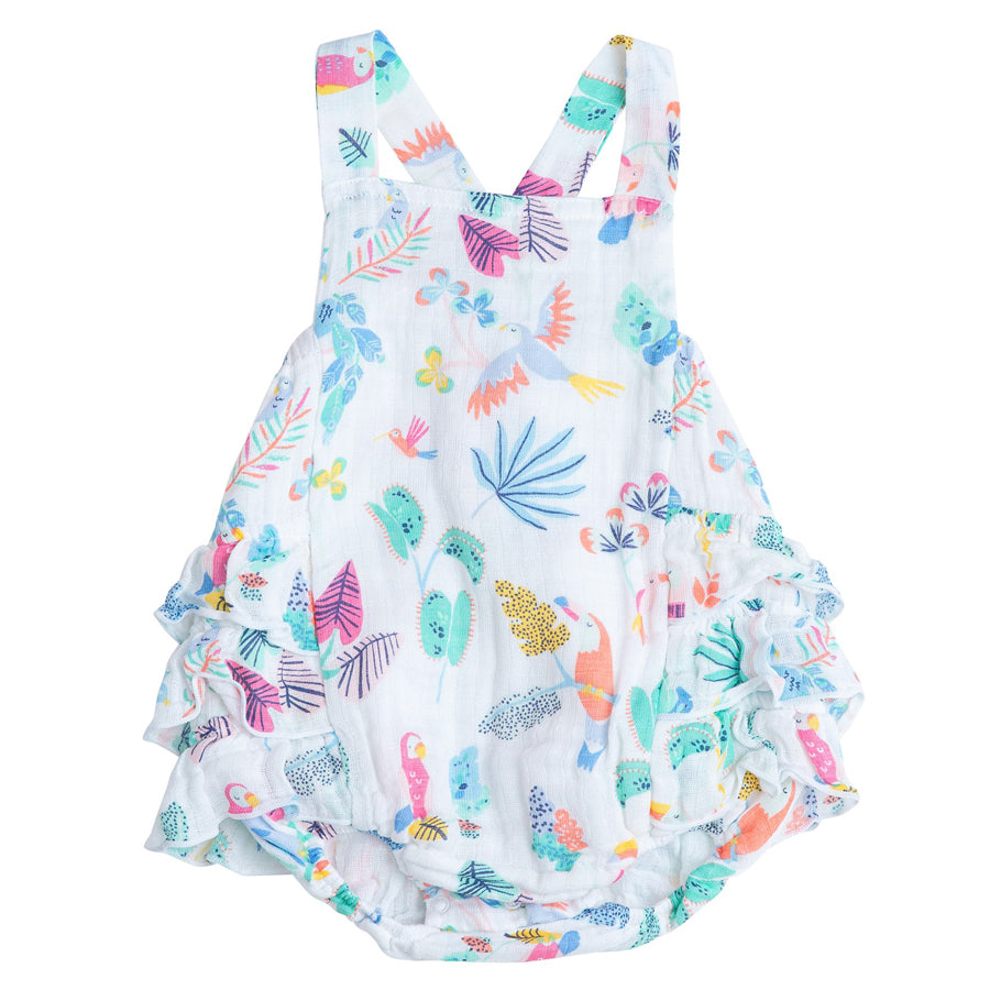 Tropical Birds Ruffle Sunsuit