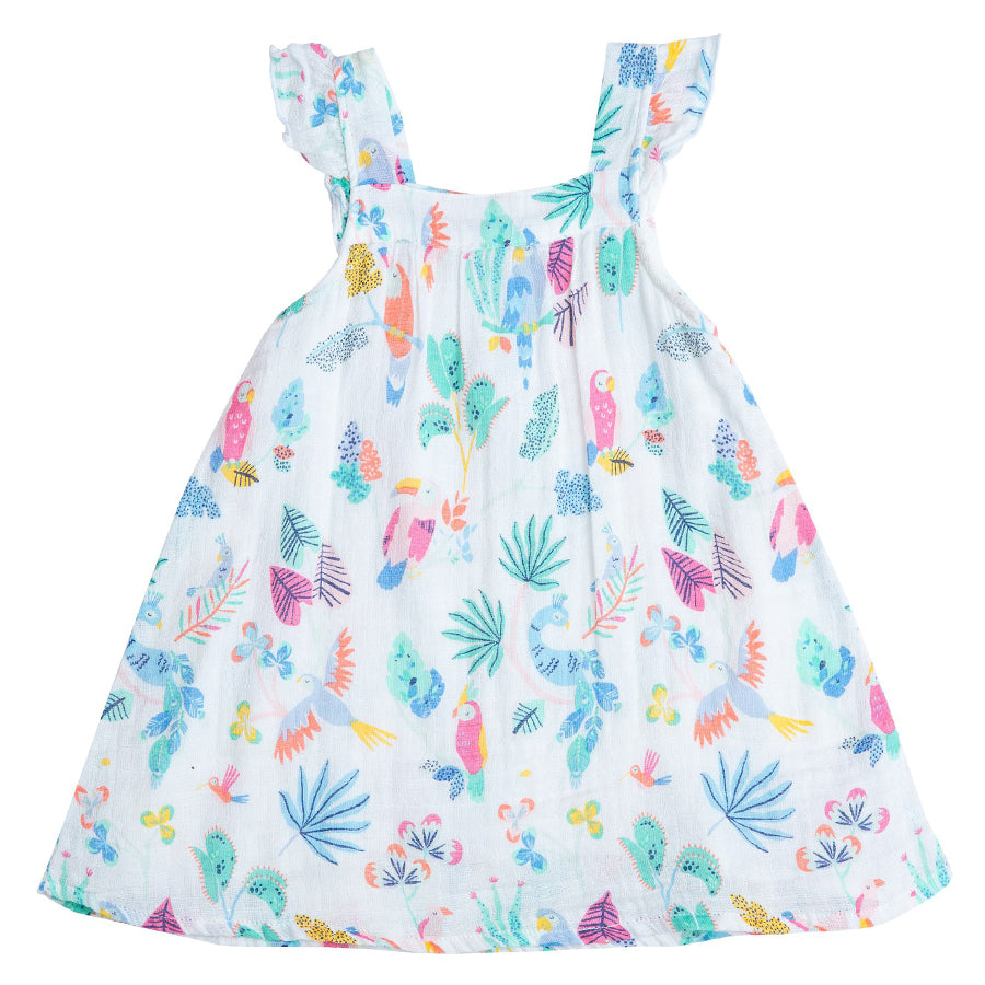 Tropical Birds Sundress & Diaper Cover-Angel Dear-Joanna's Cuties