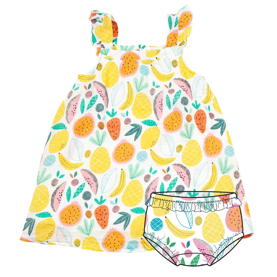 Tropical Fruit Sundress & Diaper Cover-Angel Dear-Joanna's Cuties