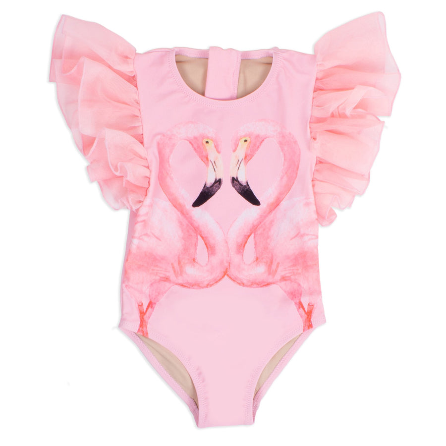 Tulle Sleeve One Piece- Pink Flamingo