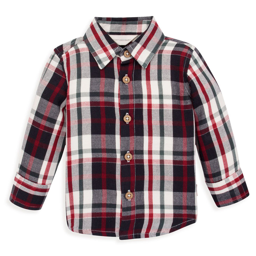 Twill Multi-Plaid Organic Button Front Collared Shirt-Burt's Bees Baby-Joanna's Cuties